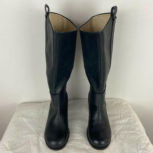 Loretta Women Black Leather High Slip On Boots